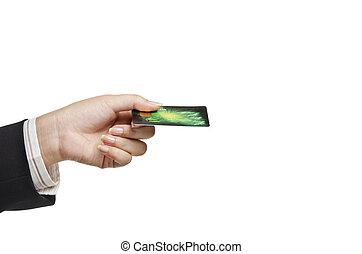 üzletasszony, birtok, kártya, hitel