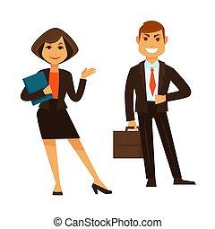 üzletasszony, elszigetelt, irattartó, fehér, üzletember, aktatáska