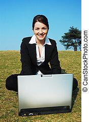 üzletasszony, munka, boldog, szabadban
