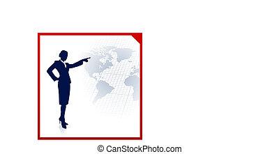 üzletasszony, világ, háttér, térkép