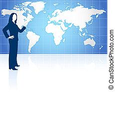 üzletasszony, világ térkép