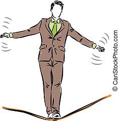 üzletember, ábra, bevétel, kockáztat, fogalom, elülső