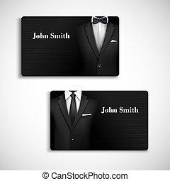 üzletember, állhatatos, kártya, illeszt