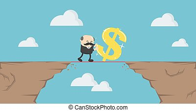 üzletember, öregedő, dollár, erőfeszítés, hegyek, jelkép, magas, fárasztó, át, lépés