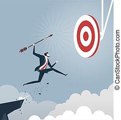 üzletember, ügy, ugrál, siker, céltábla, fogalom, dobás, nyíl