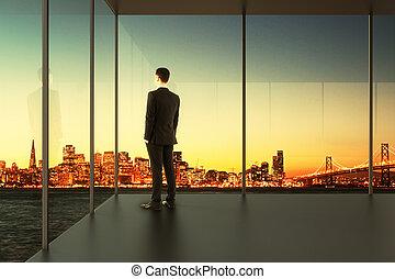 üzletember, üres hivatal