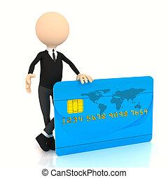 üzletember, 3, kártya, hitel