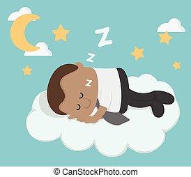 üzletember, afrikai, fiatal, felhő, alvás