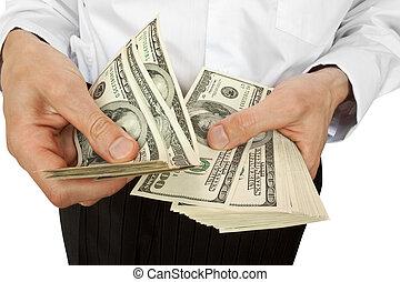 üzletember, beszámoló, pénz, kézbesít