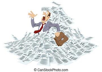 üzletember, documents., fulladás, megrohamoz