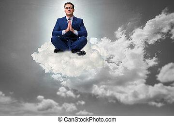 üzletember, elmélkedik, ég
