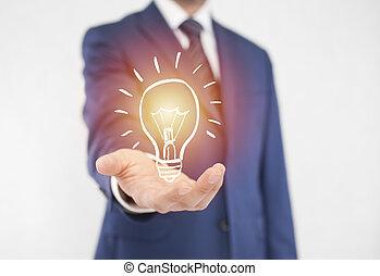 üzletember, fény, gondolat, gumó