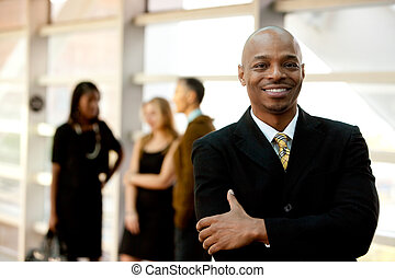 üzletember, fekete, boldog