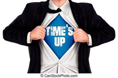 üzletember, feláll, ing, kiállítás, övé, alul, szavak, time's