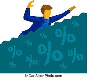 üzletember, fulladás, adósság, kölcsönad