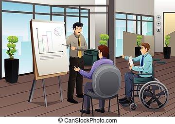 üzletember, gyűlés, hivatal