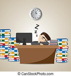 üzletember, idő, karikatúra, dolgozó, alvás