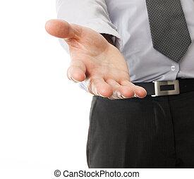 üzletember, kéz, segítség, elérő