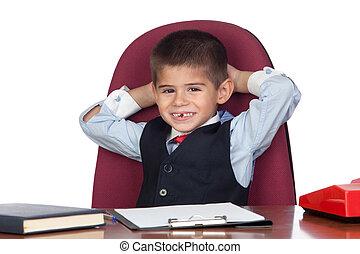 üzletember, kevés, fesztelen, hivatal