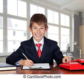 üzletember, kevés, hivatal
