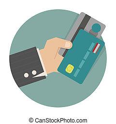 üzletember, kezezés kitart, creditcard