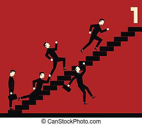 üzletember, lépcsőfok, verseny