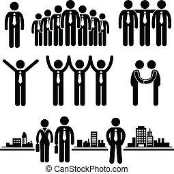 üzletember, munkás, ügy, csoport