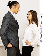 üzletember, nő, birtoklás, vita, fiatal
