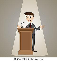 üzletember, pódium, karikatúra, beszéd