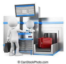 üzletember, poggyász, emberek., átvizsgálás, repülőtér, 3, fehér
