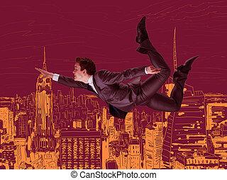 üzletember, repülés, felül, város