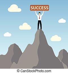 üzletember, siker, csúcs, hegy, transzparens, álló