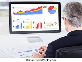 üzletember, számítógép, dolgozó, portré