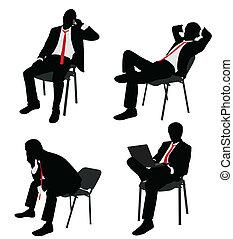 üzletember, szék, ülés