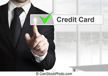üzletember, touchscreen, rámenős, kártya, hitel