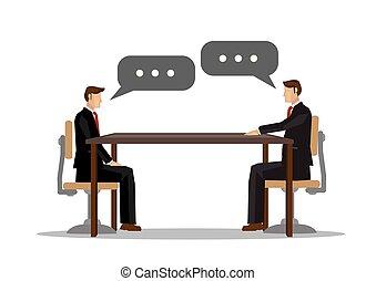 üzletember, vagy, együttműködés, mindegyik, communication., két, fogalom, egyesített, más, gyűlés, hivatal., beszéd