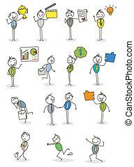 üzletember, vektor, állhatatos, elfoglaltság