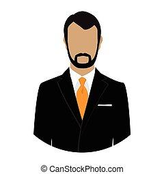 üzletember, vektor, avatar