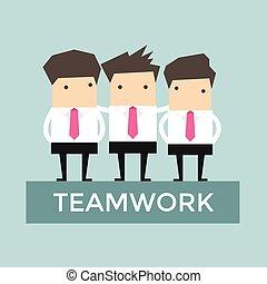 üzletember, vektor, csapatmunka