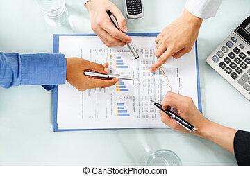 üzleti fellendülés, megvizsgál, gazdasági, emberek, statisztikai