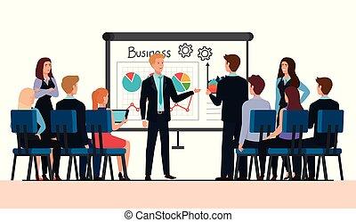 üzleti találkozás, emberek, infographic
