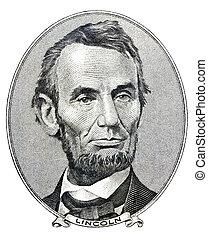 ő, számla, dollár, lincoln, obverse, öt, lát, abraham, elnök