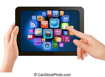 ő van, ellenző, icons., kéz, számítógép, megható, vektor, kipárnáz, tapogat, birtok, érint