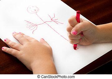 ő van, finest, gyermekkor, rajz