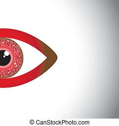 őrzés, eyes., -, fél, vektor, szem, piros, fogalom, gyönyörű