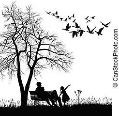 őrzés, libák, vad, liget, young család