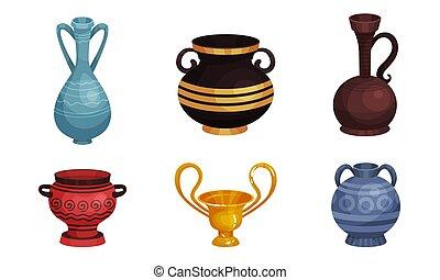 ősi, ábra, bögre, fazekasáru, kerámiai, vektor, set., agyag, vases.