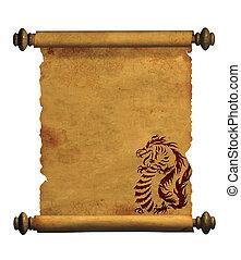 ősi, ív, pergament