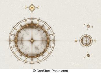 ősi, öreg, diagram, iránytű, tengeri, pergament