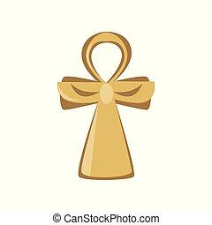 ősi, ankh, jelkép, egyiptom, ábra, aláír, kereszt, vektor, élet, vallásos, karikatúra
